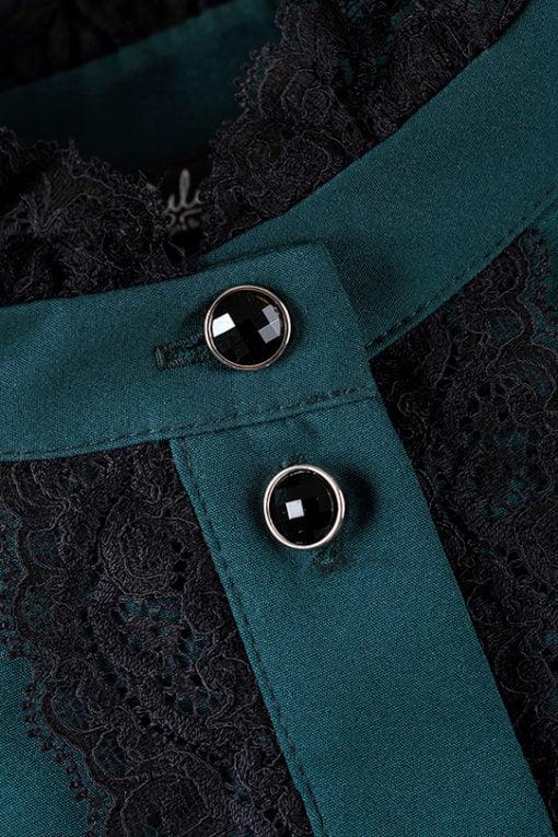 sukienka Adrien zielona, polskich projektantów, koronkowa, koszulowa, na guziki, z falbaną, długi rękaw, na randkę, do pracy, na event