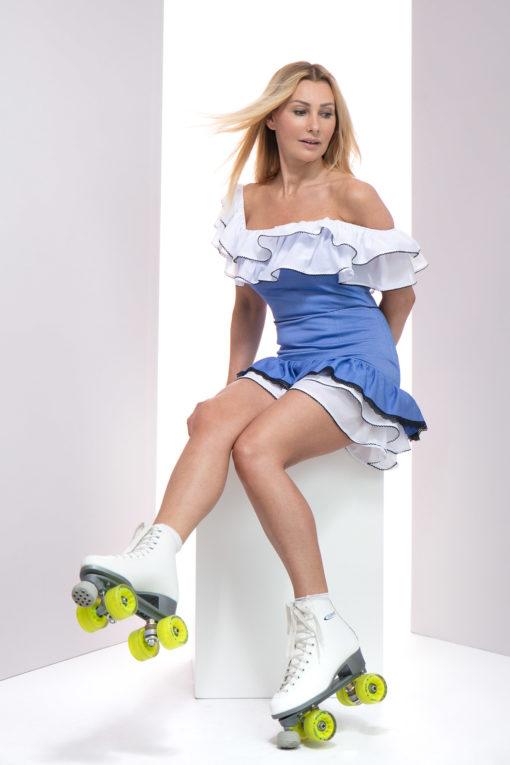 Sukienka Belisa, Sukienka LuLu sukienka hiszpanka krótka, sukienka letnia, sukienka z falbankami, dziewczęca sukienka, sukienka niebieska, sukienka niebiesko - biała