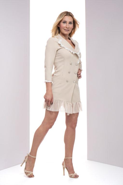Sukienko - marynarka Rosario, elegancka marynarka, marynarka z falbaną, marynarka z koronką, marynarka lulu, marynarko - sukienka lulu by adriana okoń, marynarka VIP, marynarko - sukienka polskiego projektanta