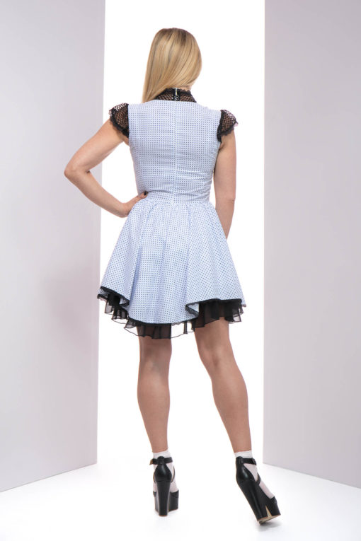Sukienka Charlot, sukienka princeska, sukienka koronkowa, sukienka z koszulówki, sukienka z falbaną, sukienka na lato, sukienka niebieska, sukienka czarno-niebieska, sukienka polskiego projektanta