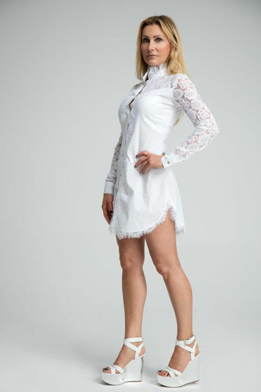 Koszula Darcy biała, koszula wizytowa, elegancka koszula, koszula z elementami z koronki, koszula na prezent, projekt polskiego projektanta, wysoka jakość materiałów i odszycia, ekskluzywna koszula, niskie nakłady