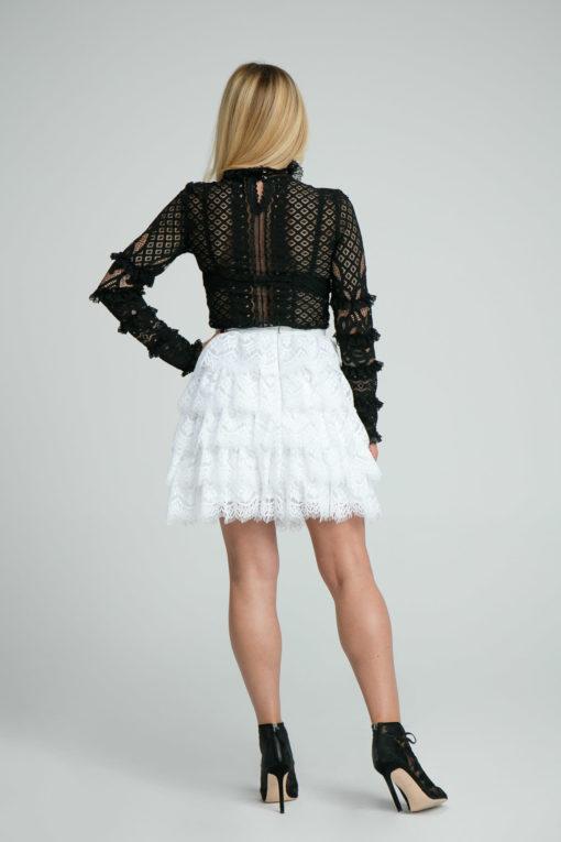 spódnica, spódnica koronkowa, koronka, krótka, kobieca, z falbanką,