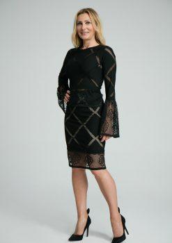 Komplet Melani czarny, elegancki komplet koronkowy, bluzka + spódnica, strój na kolację firmową, spódnica ołówkowa, projekt polskiego projektanta, polish designer