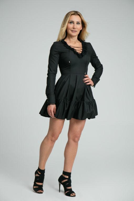 Sukienka Lucretia czarna, sukienka z elementami z koronki, sukienka od polskiego projektanta, limitowana edycja, sukienka lulu by adriana okoń