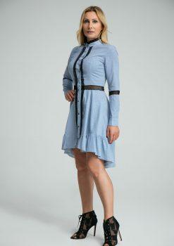 sukienka Adrien, niebieska, polskich projektantów, koronkowa, koszulowa, na guziki, z falbaną, długi rękaw, na randkę, do pracy, na event
