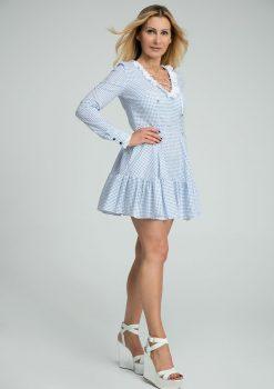 Sukienka Lucretia, sukienka LuLu, LuLu by Adriana Okoń, sukienka polskiego projektanta, sukienka z długim rękawem, sukienka przed kolano, sukienka z dekoltem, sukienka z falbaną