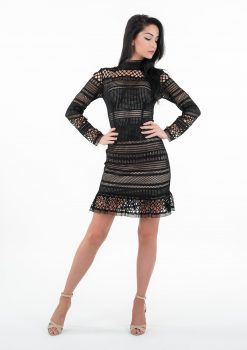 Sukienka Rachel, sukienka z długim rękawem, sukienka z falbaną, Sukienka LuLu, Sukienka LuLu by Adriana Okoń, sukienka koronkowa, sukienka polskiego projektanta, sukienka VIP, sukienka ecru, sukienka biała, sukienka ołówkowa, sukienka czarna, mała czarna, mała biała