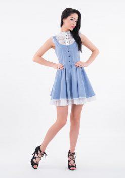 Sukienka Elsa, sukienka LuLu, sukienka koronkowa, sukienka z koszulówki, sukienka koktajlowa, sukienka eventowa, sukienka na randkę, sukienka polskiego projektanta, sukienka niebieska
