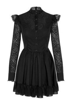 Sukienka Charlott czarna długi rękaw, sukienka z koronki, elegancka sukienka, sukienka polskiej projektantki, mała czarna z długim rękawem, limitowana edycja